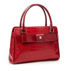 Red Bow Top Mock-Crocodile Shoulder Bag