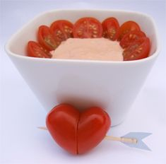 Struck by Cupids Arrow Cherry Tomatoes with Cocktail Sauce is a quick and easy snack or starter for your valentine's day celebration.