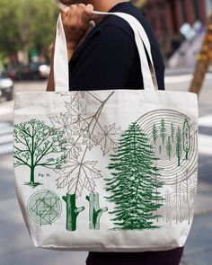 Tree Botanical Illustration Tote Bag | Recycled Canvas Bag Science, Botany Bag, Pine Tree rings, forest, outdoors, camping, adventure gift by CognitiveSurplus on Etsy https://www.etsy.com/sg-en/listing/481022214/tree-botanical-illustration-tote-bag