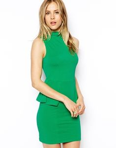 Asos Sleeveless Dress with High Neck and Peplum - green cocktail dress Asos, Green Cocktail Dress, Peplum, Bodycon Dress, Funnel Neck, Summer Wardrobe, Short Skirts, Fitness Models, Party Dress