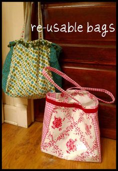 reusable bags (I want to make some to use for grocery shopping!)