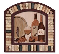 Frame about and with cork and wine
