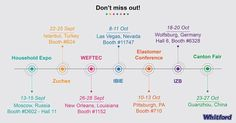 Check out the #events not to miss! Looking forward to meeting you soon! #HouseholdExpo #Moscow #Russia  #Zuchex #Istanbul #Turkey  #WEFTEC2016 #NewOrleans #Louisiana  #IBIE2016 #LasVegas #Nevada  #ElastomerConference #Pittsburgh #Philadelphia  #IZBWolfsburg #Wolfsburg #Germany  #CantonFair #Guanshou #China  and more - Keep you posted! #aroundtheworld #HumpDay #Event