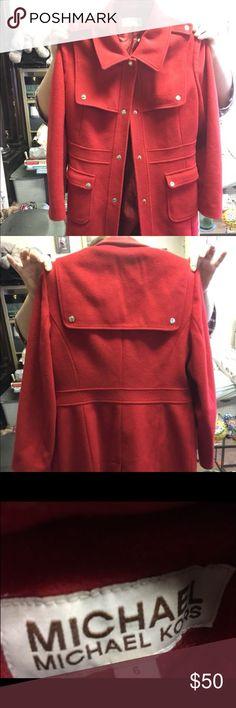 Micheal Kors wool log coat Red Micheal Kors coat. Worn once  Trying to make room in my closet MICHAEL Michael Kors Jackets & Coats Pea Coats