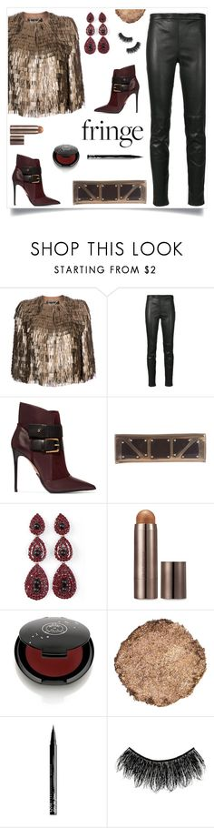 """Balmain"" by tina-pieterse ❤ liked on Polyvore featuring Salvatore Ferragamo, Yves Saint Laurent, Balmain, Gucci, Laura Mercier, Rituel de Fille, Illamasqua, NYX and fringe"