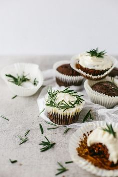 ... chocolate orange cupcakes with rosemary buttercream ...