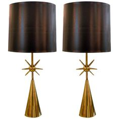 Pair of Modernist Brass Sputnik Table Lamps | From a unique collection of antique and modern table lamps at http://www.1stdibs.com/furniture/lighting/table-lamps/