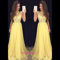 LJ44 A Line Yellow Prom Dress,Chiffon Prom Dress,Long
