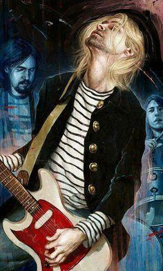 Illustration: Nirvana by Rory Kurtz Nirvana Band, Nirvana Kurt Cobain, Banda Nirvana, Kurt Cobain Art, Kurt Cobain Photos, Kurt Cobain Painting, Nirvana Tattoo, Pop Rock, Rock And Roll