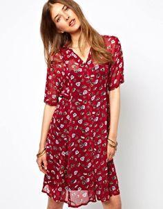 Ganni+Tie+Waist+Shirt+Dress+in+Pansy+Print