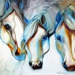 """ WILD HORSES in ABSTRACT"" by MBaldwinFineArt2006"
