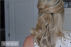 Half up hairstyle with a Secret Braid tutorial. The braid acts like a barrette.