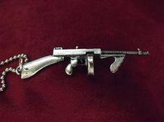 Gun Necklace Historical Tommy Gun Pendant Necklace by AGothShop, $15.00