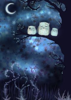 '3 Owls Sitting in a Tree' by Badis-Siebenstein cute for watercolor or mixed media