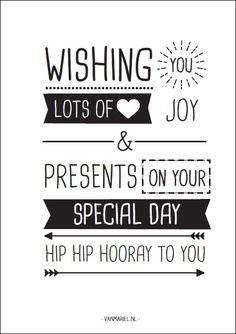 Twee Ons Geluk - Van Mariel Zwart Wit Kaartje Hip Hip Hooray To You Anzichtkaart Verjaardag - Zwart / Wit