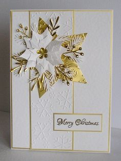handmade Christmas card ... white and gold ... layered die cut poinsettia ... golden die cut and embossed star ... lovely!