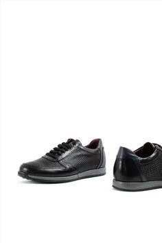 Ανδρικά Δερμάτινα Sneakers ZAKRO COLLECTION 9335 BLACK All Black Sneakers, Casual Shoes, Slip On, Collection, Fashion, Moda, Fashion Styles, Fashion Illustrations