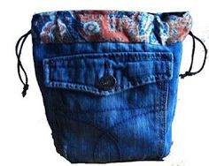 Denim recycling - Drawstring bags.  Like the use of cotton fabric on top.