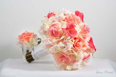 Coral Wedding Bridal Bouquet Boutonniere Set. Real Touch Roses, Hydrangeas, Calla Lilies, Crystals