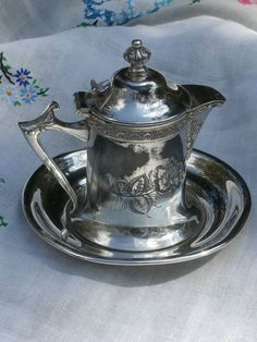 Antique Silver Plate Syrup Pitcher with Under Plate