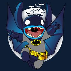 Haha this is adorable. Stich and batman crossover