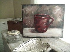 Acrylic Painting of a Coffee Cup Artist Sherry by BigFatArtBarn, $35.00