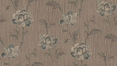 Caterina (3604) - Albany Wallpapers - An elegant, large scale, textured vinyl floral trailing design featuring large flowers and foliage. Shown here in  brown, silver and black with metallic highlights. Other colourways are available. Please request a sample for a true colour match. Pattern repeat is 60cm.