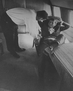 """JFK aboard the""""Caroline"""" with Pierre Salinger"""