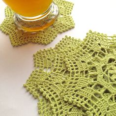 Lime Coaster in Bamboo Thread By #ArtisticNeedleWork #crochet #coasters