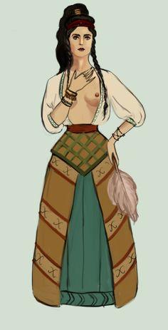 The Stream of Time: Pre-Temple (2,400-2,100 BCE) female Minoan fashion, by Tadarida