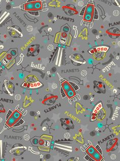 Scandinavian vikings and pirate ship illustration pattern for Space mountain fabric