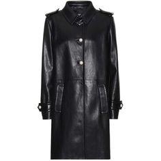 Miu Miu Leather Coat (51 405 ZAR) ❤ liked on Polyvore featuring outerwear, coats, jackets, black, genuine leather coat, miu miu, leather coat, real leather coats and miu miu coat