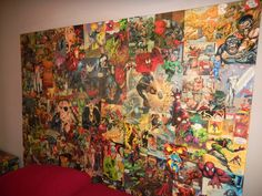 This would be great for my son's room --  headboard made of Marvel comic book covers/posters.