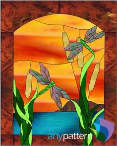 Morning on the Pond - 24 x 30 – anypattern.com stained glass pattern