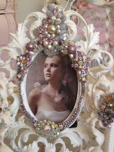 Large Purple and Lavendar Vintage jeweled frame