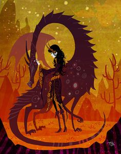 The Sorceress and the Dragon 8x10 art print by theGorgonist, $12.00