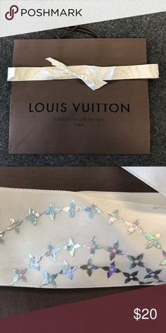 """Louis Vuitton shopping bag with RARE ribbon Authentic bag and ribbon,  bag is 15.75 x 13.25"""". Ribbon is beautiful!!! Louis Vuitton Accessories"""