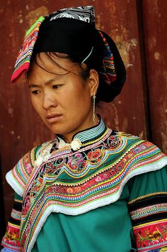 Portrait of a Yi Woman. Photo taken in South Yunnan, China   © Boaz Images