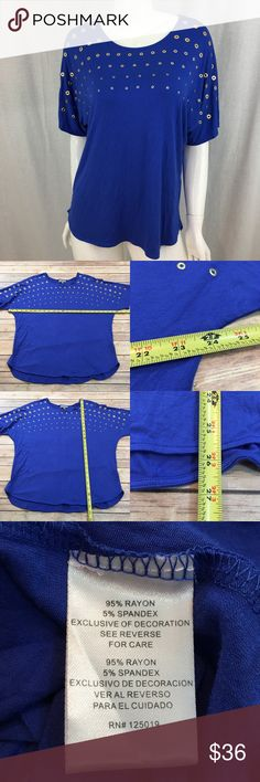 💜 Medium Joseph A. Blue Studded Dolman Sleeve Top Measurements are in photos. Normal wash wear, no flaws. E1/44  I do not comment to my buyers after purchases, due to their privacy. If you would like any reassurance after your purchase that I did receive your order, please feel free to comment on the listing and I will promptly respond.   I ship everyday and I always package safely. Thank you for shopping my closet! Joseph A. Tops Blouses