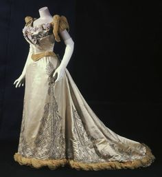 Evening dress, C. F. Worth, silk satin, crepe and velvet trimmed with metallic cord and embroidered with rhinestones and silk, 1893, French.