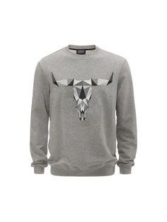 Grey Marl Graphic Bull Skeleton Embroidery Judd Sweatshirt