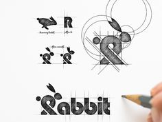Rabbit Logo Process designed by Garagephic Studio. Connect with them on Dribbble; the global community for designers and creative professionals. Web Design, Book Design, Design Trends, Logo Evolution, Typography Design, Branding Design, Logo Sketches, Logo Process, Mountain Logos