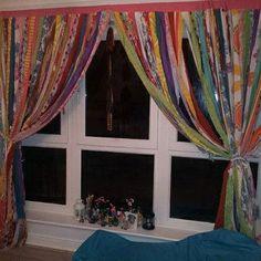 Gypsy Curtain Boho Hippie Bold Rod Pocket Rag Tattered - Teen Room, Window Treatments, Draperies