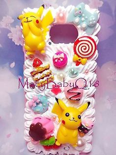Pikachu case for iphone 6 6S 6 plus for ALL iPhone models handmade decoden cream