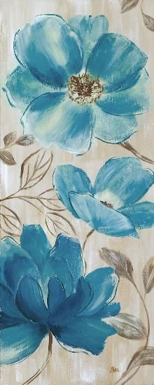 Simple Oil Painting, Blue Painting, Fabric Painting, Painting & Drawing, Easy Flower Painting, Watercolor Flowers, Watercolor Paintings, Plant Drawing, Blue Garden