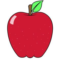 Cartoon apple drawing of the red delicious variety.
