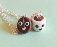 Coffee Best  Friends Necklace Set Coffee Bean and Coffee Mug Clay Miniatures. $28.00, via Etsy.@dezhaunawalker