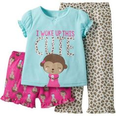 Child of Mine made by Carter's Baby Toddler Girl Shirt, Short and Pant Pajama Set 3 Pieces, Size: 4 Years, Green