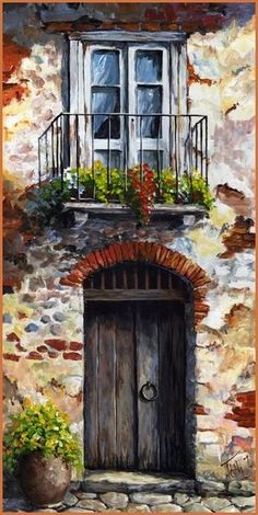 New Ideas For Art Painting Abstract Diy Inspiration Pictures To Paint, Art Pictures, Watercolor Landscape, Watercolor Paintings, Acrylic Paintings, Images D'art, Old Doors, Painted Doors, Painting Inspiration