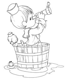 Precious Moments Coloring Pages: Boy in a Boat